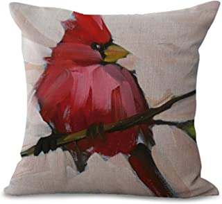 BQ Cushion Cover Oil Painting Style Birds Northern Cardinal Birdie Pattern Pillow Cover Decorative Pillow Case 18 x 18 Inches Cotton Linen Blend Square Throw Pillow Cover Cushion for Couch Car Home