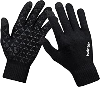 anqier Winter Knit Gloves Windproof Touchscreen Warm Hand Gloves for Men & Women(Black Men)