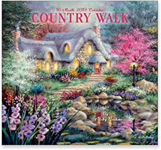 16 Month Premium Wall Calendar 2019 - Country Walk - Each Month Displays Full-Color Illustration. Printed on Linen Embossed Heavyweight Paper Stock