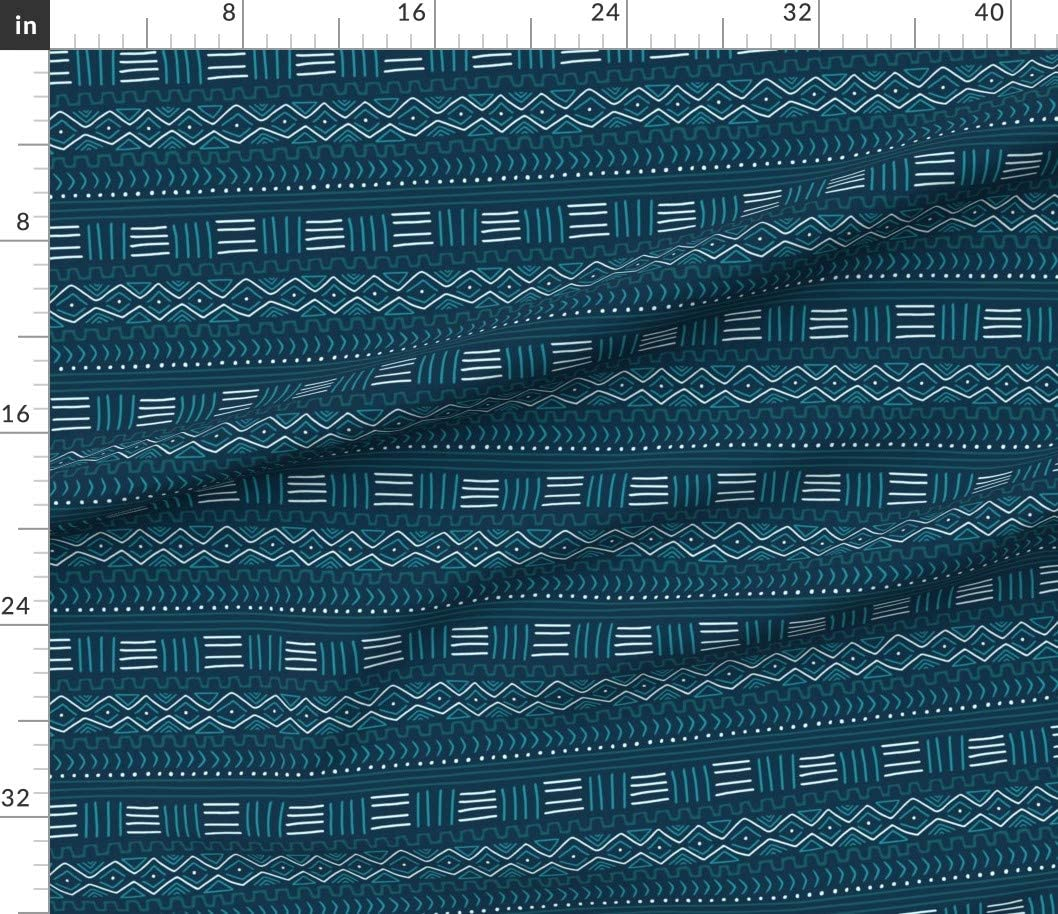 Mudcloth On Teal by thewellingtonboot Geometric Tribal Cotton Sateen Pillow Sham Bedding by Spoonflower Mud Cloth Pillow Sham