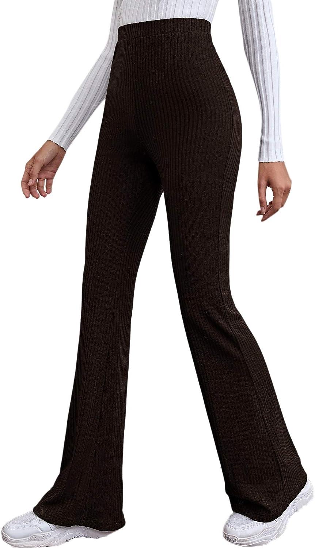 Romwe Women's Ribbed Knit High Waist Flared Palazzo Wide Leg Pants Trousers