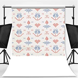 Hand Drawn Embroider Tulip Stitches Seamless Vector Pattern Cross Stitch Photography Backdrop,034122 for Video Photography,Flannelette:6x10ft