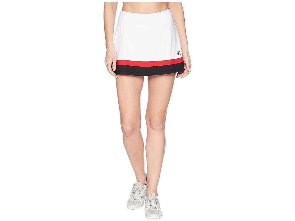Fila Heritage Tennis Skort (White/Black/Crimson) Women