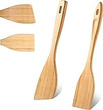 ملعقة خيزران خشبية للطهي 13 بوصة ملعقة مسطحة خشبية لمغارقة خشبية للطهي غير لاصق مقاومة للحرارة مجموعة أواني طهي خيزران للمطبخ