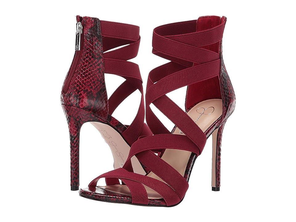 Jessica Simpson Jyra (Red Elastic Gore/Glossy Dessert Snake Print Fabric) Women