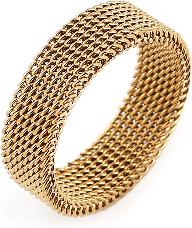HZMAN Men Women 6mm Stainless Steel Comfort Fit Mesh Ring Size 6-12