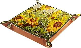 FCZ Plateau de rangement vintage en cuir jaune tournesols pour table de chevet, bureau, boîte de rangement pour bijoux, cl...