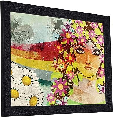 Random (RP- 1288) Multicolor Pretty Girl Painting, 14 X 12 INCH