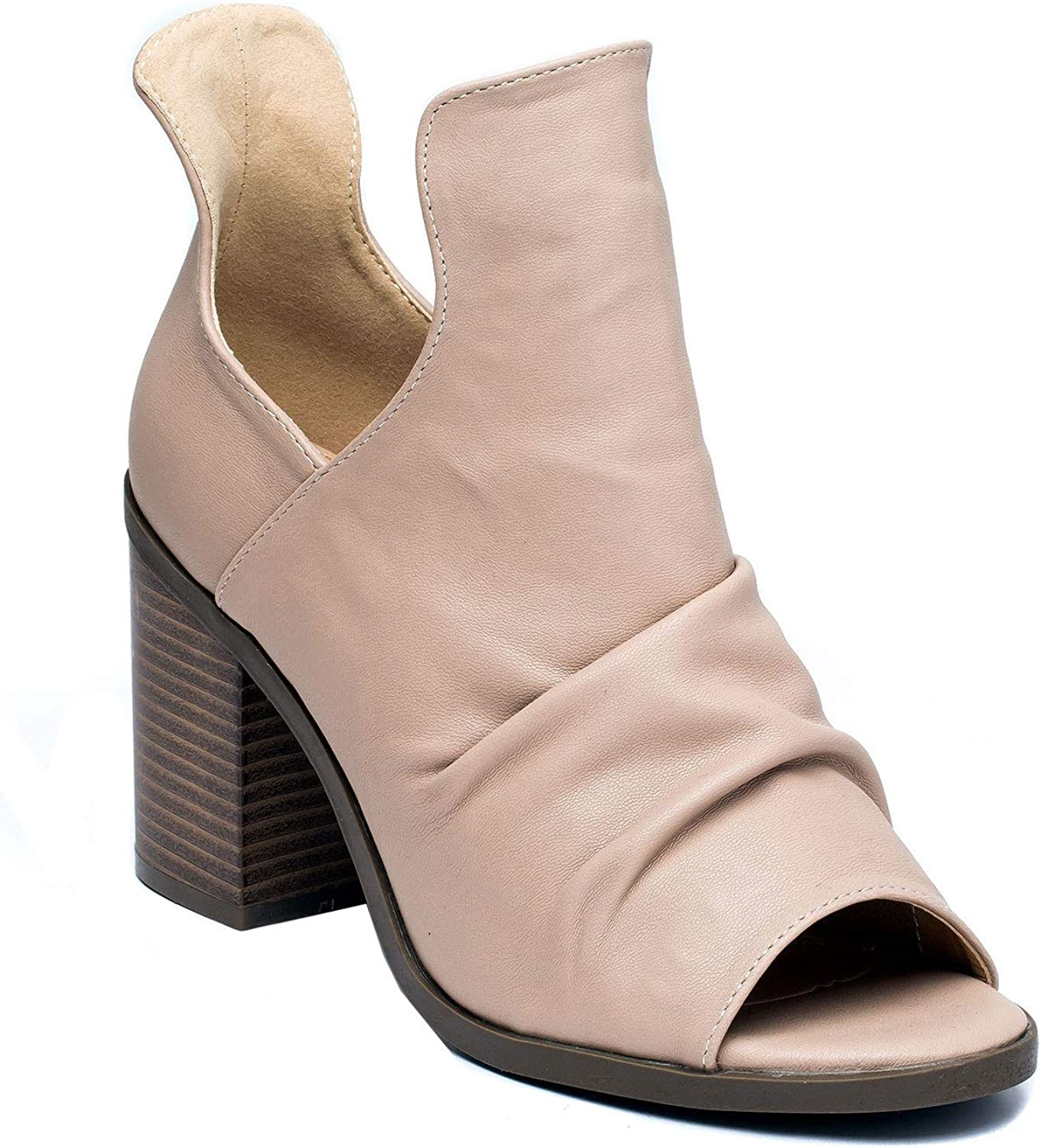 Gc shoes Women's Susana Cut Out Heeled Sandal - Peep Toe Suede Pull On Sandal