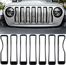 Royalo Black Front Grill Inserts Guards Grille Cover Trim for Jeep Wrangler JL Sport/Sports (Pack of 7)