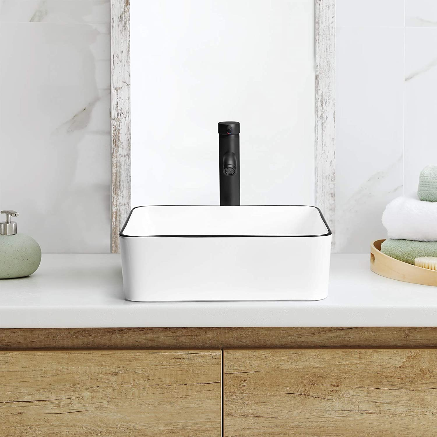Buy Kswin Ceramic Rectangular Bathroom Vessel Sink Above Counter Vanity Sink With Faucet Combo White Body With Black Trim On The Top 16 X 12 Online In Germany B08s47q9nq
