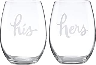 Kate Spade New York Two Of A Kind Stemless His and Hers Wine Glass Pair - Clear