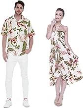 Couple Matching Hawaiian Luau Party Outfit Set Shirt Dress in Cream Rafelsia