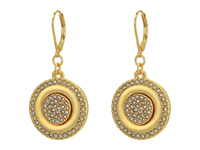 Vince Camuto French Wire Coin Earrings (Gold/Crystal) Earring