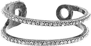 Steve Madden Women's Rhinestone Safety Pin Design Silver-Tone Cuff Bracelet