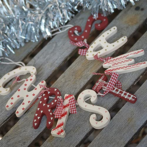 Merry Christmas Wooden Garland Vintage Country Style Red Cream Decoration Chic