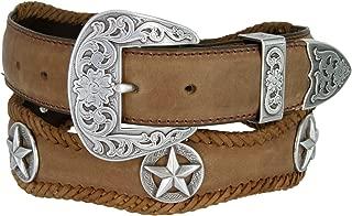 Mens Austin Texas Stars Conchos Western Leather Scalloped Belt