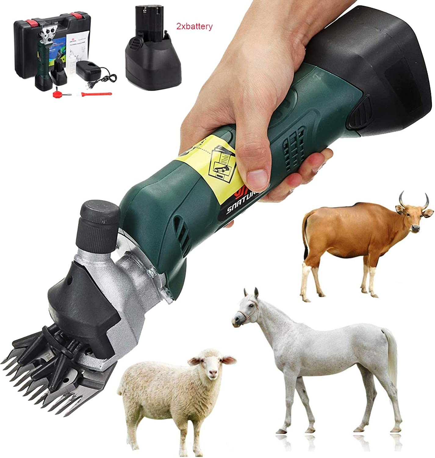 LIJUEZL 12V 200W Cordless Electric Shearing Clipper with 2 pcs Battery  Wool Electric Sheep Shearing for Farm Livestock Pet Supplies Grooming
