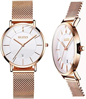 Watch for Women Date Easy Read Waterproof Analog Wrist Watches OLEVS Rose Gold Mesh Stainless Steel and Ladies Watches (Gold/Black/White)