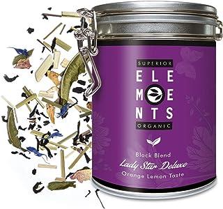 Lady Star Deluxe Earl Grey Tea Lose Bio Dose den Frauen Gewidmet, Premium Schwarzer Tee mit Kräutern, Bergamott-Orangen-Zitrus Geschmack, 100 Gramm ca. 40 Tassen von alveus