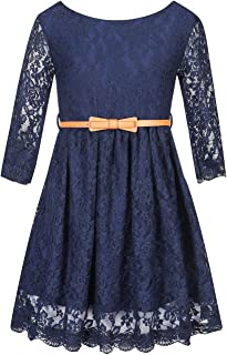 BINPAW Girls' Lace Dress with Belt
