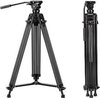 Tripod, COMAN KX3636 74 inch Video Tripod System- Professional Heavy Duty Aluminum Twin Tube Camera Tripod, Q5 Fluid Head, Mid-Level Spreader, Max Loading 13.2 LB, DSLR Camcorder