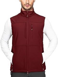 Men's Lightweight Softshell Vest Outerwear Zip Up Fleece Lined Windproof Sleeveless Jacket for Golf Running Hiking
