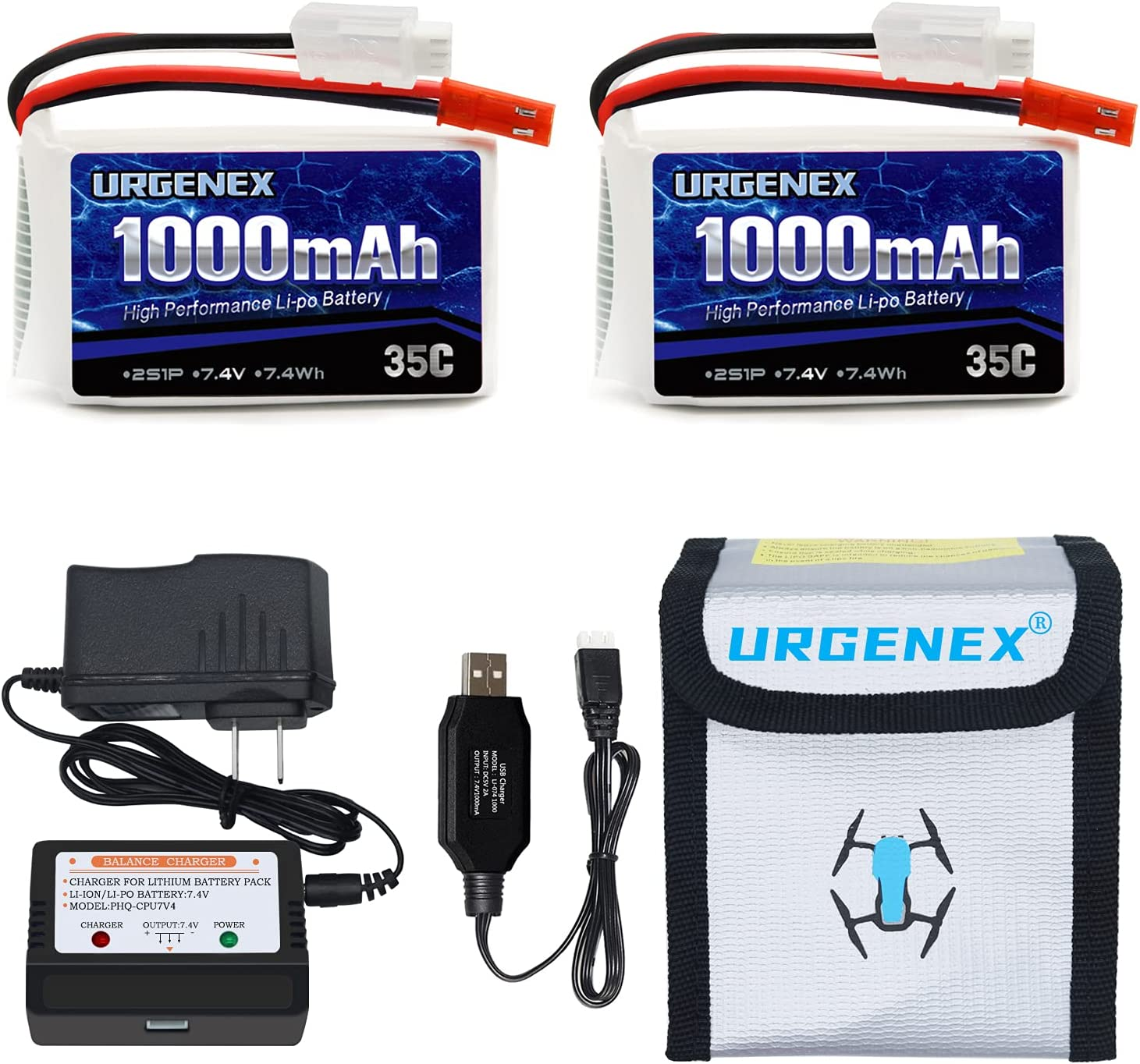 URGENEX 2S Courier shipping free Lipo Battery 7.4v 1000mah 35C Ranking TOP2 and Plug JST with