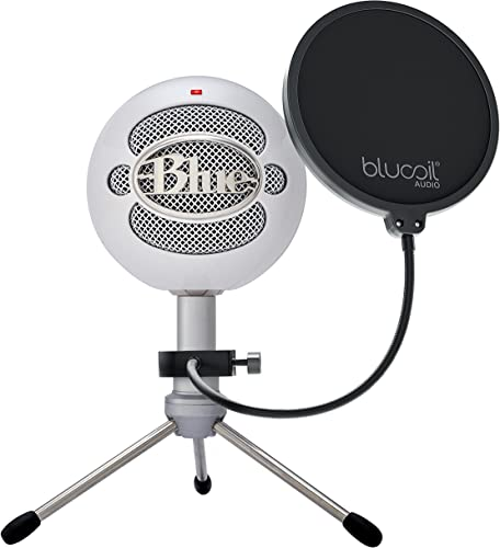 lowest Blue outlet online sale Snowball iCE USB Mic for Recording and Streaming on Windows and Mac - Plug and Play Cardioid Condenser Microphone with Adjustable Stand (White) popular Bundle with Blucoil Boom Arm Plus Pop Filter online sale