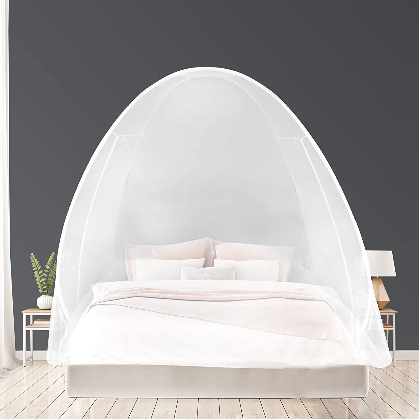 EVEN NATURALS Luxury Pop Up Mosquito Net Tent, Large: for Twin to King Size Bed, Extra Fine Holes, Canopy with Lace, Folding Design with Bottom, 2 Entries, Easy to Install, Storage Bag, No Chemicals