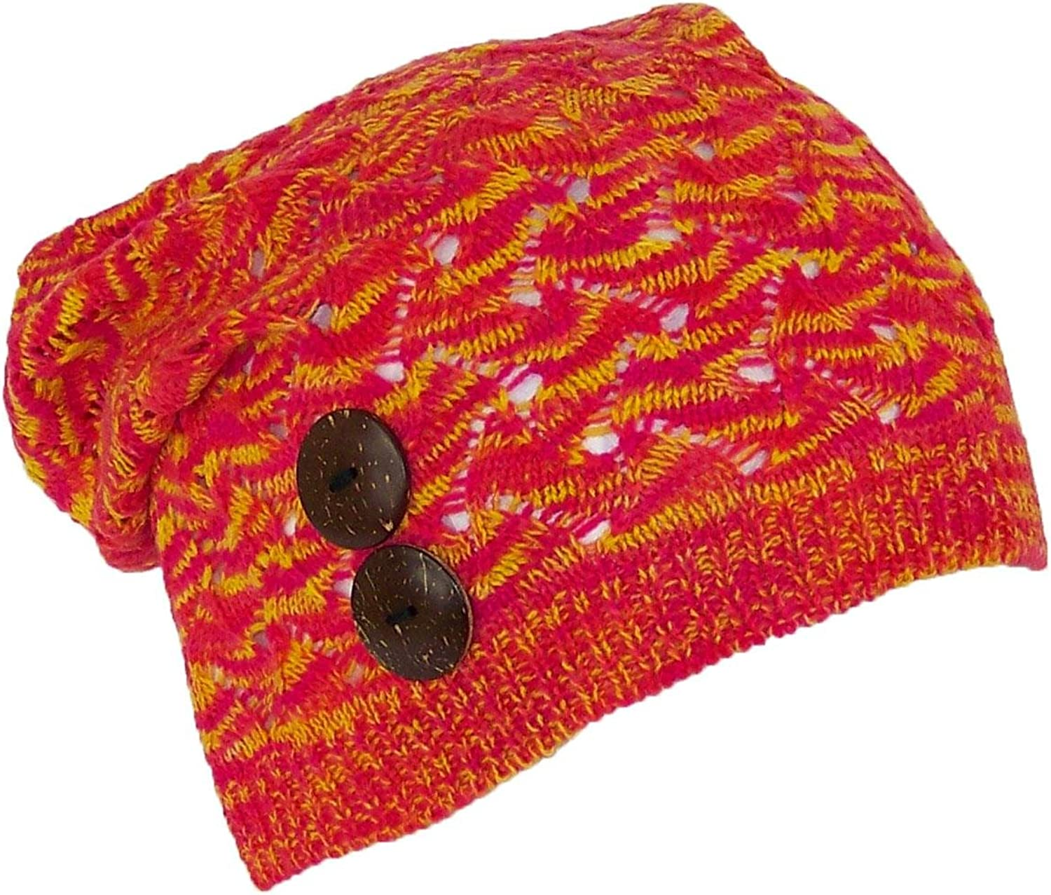 D&Y Women's Loose Knit Variegated Lightweight Skull Cap W 2 Buttons (One Size)