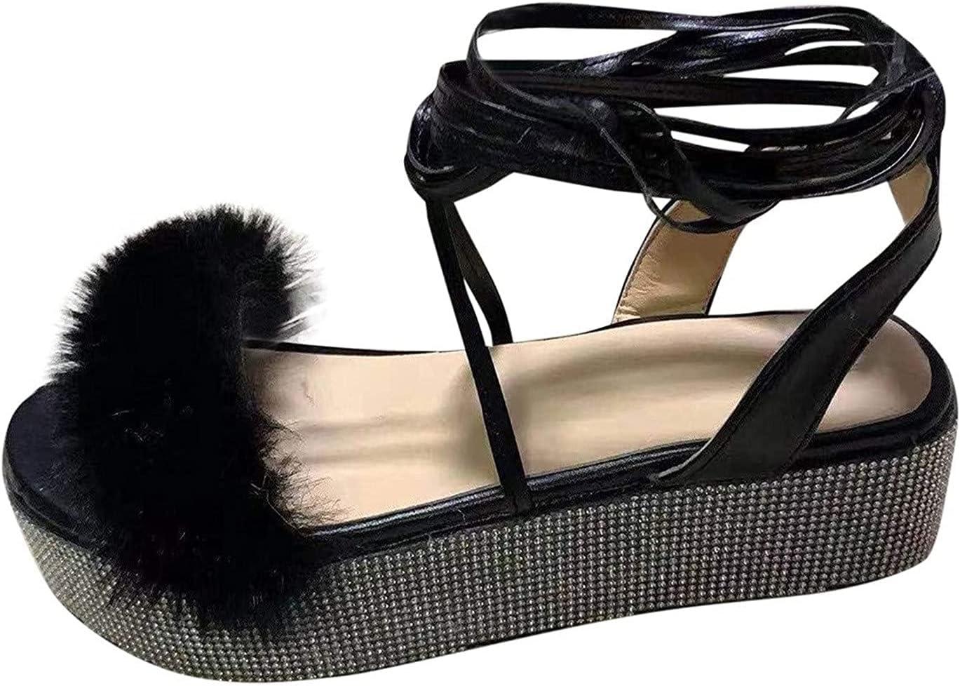 kakina Leg Wraps Bandage Sandals for Women Casual Summer Platform Sandals Furry Rhinestone Sandals Wedge Slide Sandals with Arch Support