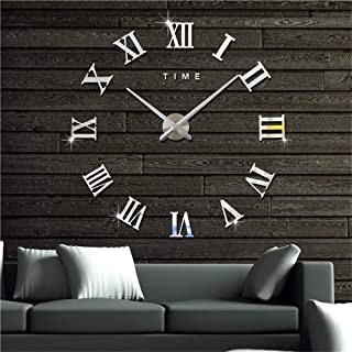 MiLa 3D Frameless Wall Clock Large Stickers DIY Wall Decoration for Living Room Bedroom (Silver)