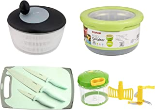 Prestige SALAD SPINNER + WINSOR CUTTING BOARD + VEGGIE CUTTER + FOOD CONTAINER - Assorted Colors