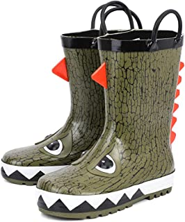 RANLY & SMILY Kids Waterproof Rubber Rain Boot with Easy Pull On Handles