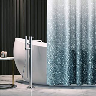 No Hooks Needed Shower Curtain,Gray Green Gradient Spray Pattern,Waterproof Fabric, for Bathroom Hotel, 72in x 72in (Gradient)