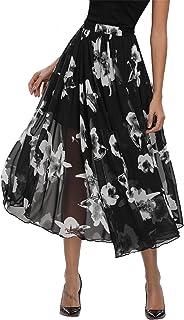 Abollria Women's Chiffon Skirt Long A-Line Skirts Swing Maxi Skirt with Underskirt