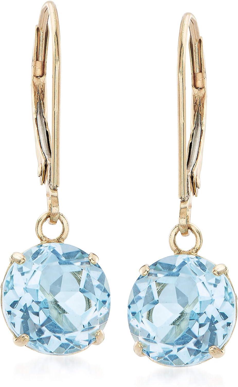 Ross-Simons 4.60 ct. t.w. Sky Blue Topaz Drop Earrings in 14kt Yellow Gold