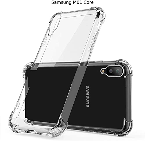 Caresale Transparent Crystal Clear Samsung Galaxy M01 Core Back Case Cover Anti Drop With Bumper Corner Screen And Camera Protection Shockproof Soft TPU Case Cushioned Edges For Ultimate Protection