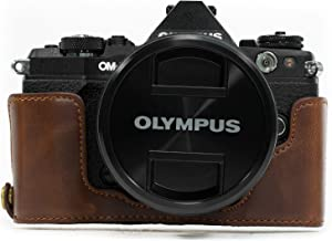 MegaGear Ever Ready Leather Camera Half Case Compatible with Olympus OM-D E-M5 Mark II