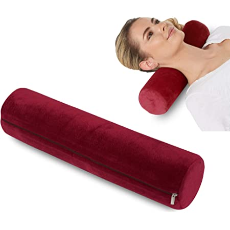 Round Cervical Roll Cylinder Bolster Pillow, Memory Foam Removable Washable Cover, Ergonomically Designed for Head, Neck, Back, and Legs    Ideal for Spine and Neck Support During Sleep