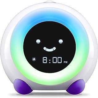 LittleHippo Mella Ready to Rise Children`s Sleep Trainer, Alarm Clock, Night Light and Sleep Sounds Machine (Bright Purple)