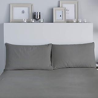 Fusion Brushed Bedding Juego de 2 Fundas de Almohada, 100% algodón Cepillado, Gris Oscuro, 50 x 75cm Housewife