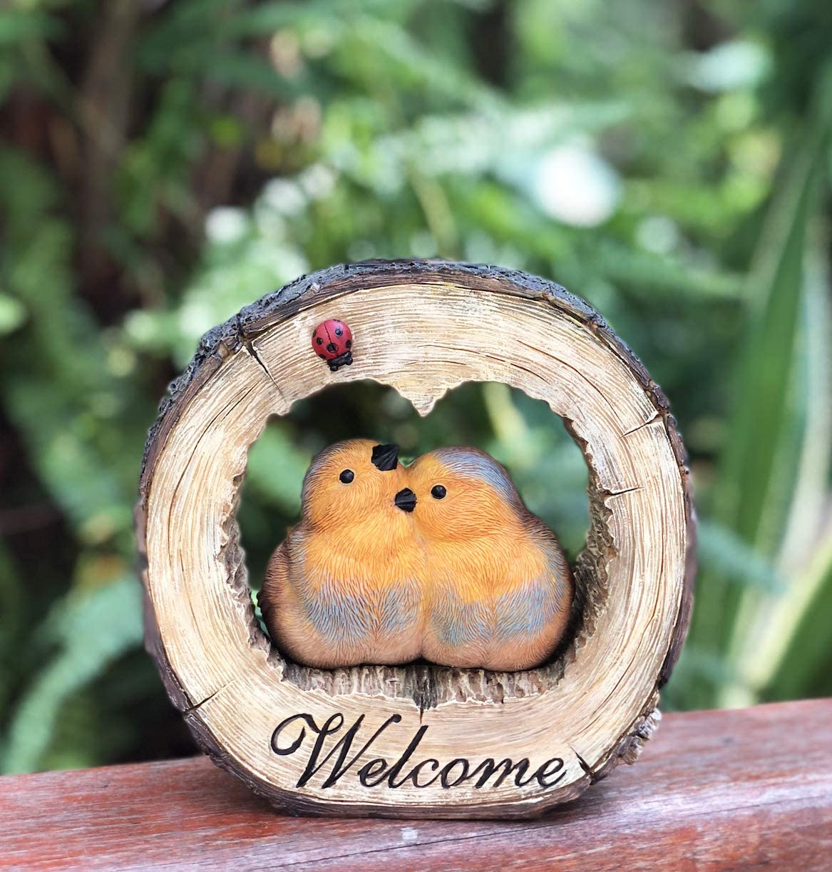 Solar Powered Love Birds and Ladybug Welcome trust Sign Outdo