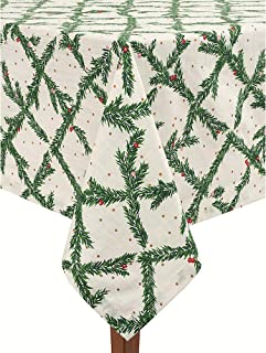 Kate Spade New York Luxury Linens Pine Needles Holiday Pattern Tablecloth Green Gold White Natural Cotton (60 x 120 INCH Oblong)