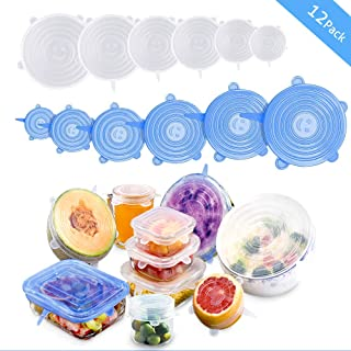 Silicone Stretch Lids, 12 Pack Reusable Airtight Food Storage Covers, Keeping Food Fresh, Durable and Stretchable to Fit Various Sizes and Shapes of Containers.Microwave and Dishwasher Safe 6 Sizes