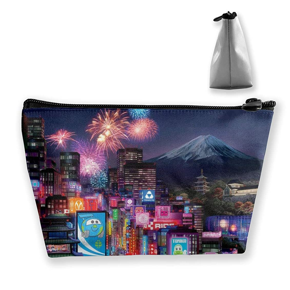 息子ドメインスイス人Szsgqkj 富士山の花火 化粧品袋の携帯用旅行構造の袋の洗面用品の主催者