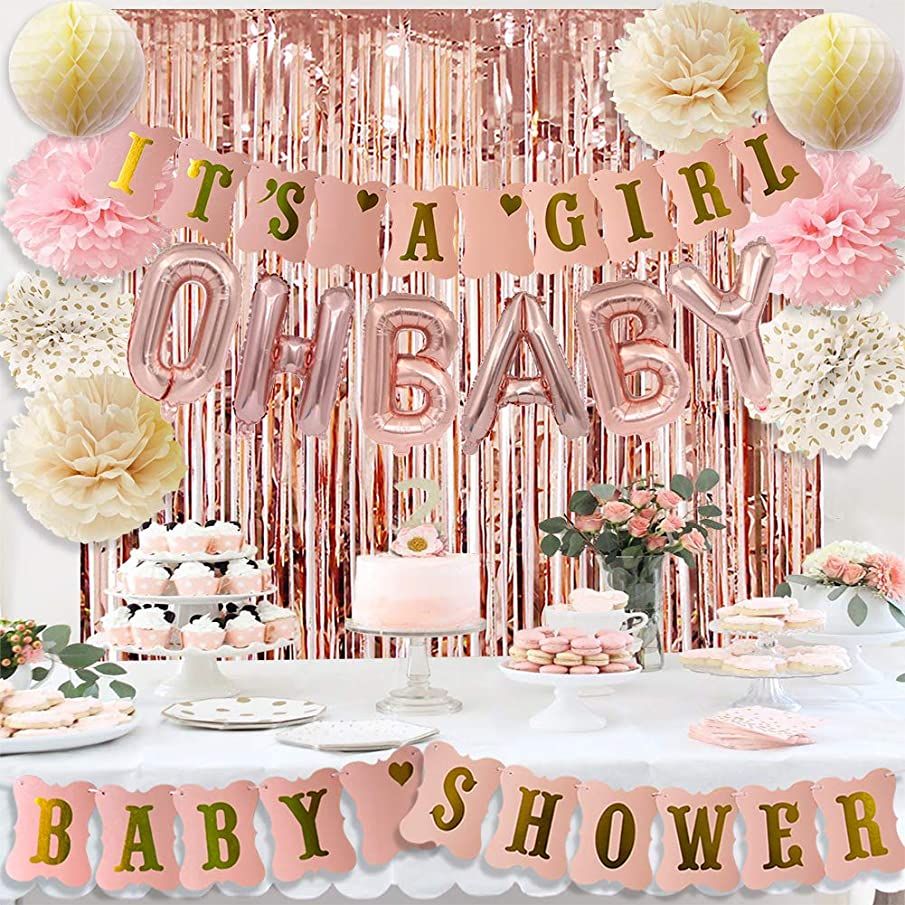 HappyField Rose Gold Baby Shower Decorations For Girl with It's A Girl Baby Shower Banner Rose Gold OH Baby Foil Letter Balloons Rose Gold Foil Fringe Curtains Tissue Paper Pom Poms Honeycomb Balls