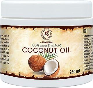 Aceite de Coco 250ml - Aceite de Coco Nucifera - Indonesia - 100% Puro y Natural - Prensado en Frío - Mejores Beneficios para el Cuidado del Cabello de la Piel - Aceites Sin Refinar