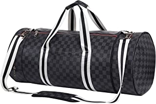 Leather Travel Duffel Bag Tophie Luggage Bag Black Checkered Gym Sports Bag With Two Shoes Compartment Removable Crossbody Strap Tote Duffel Bag for Men or Women